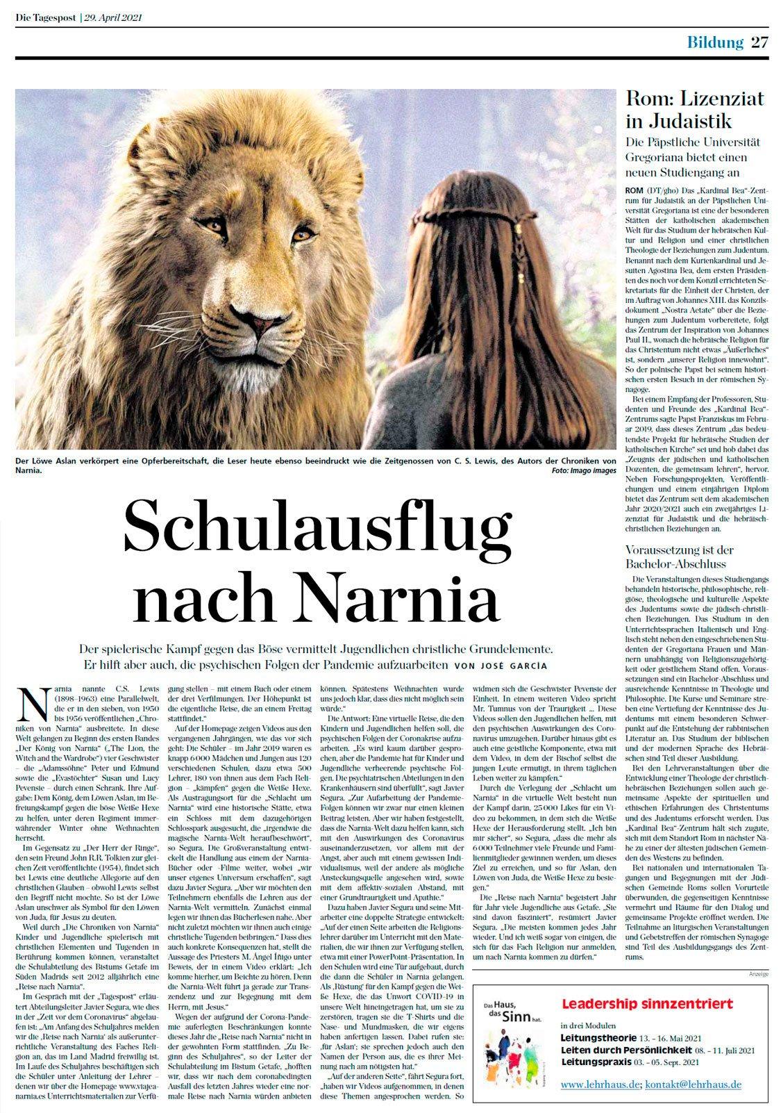 Viaje a Narnia viaja a Alemania